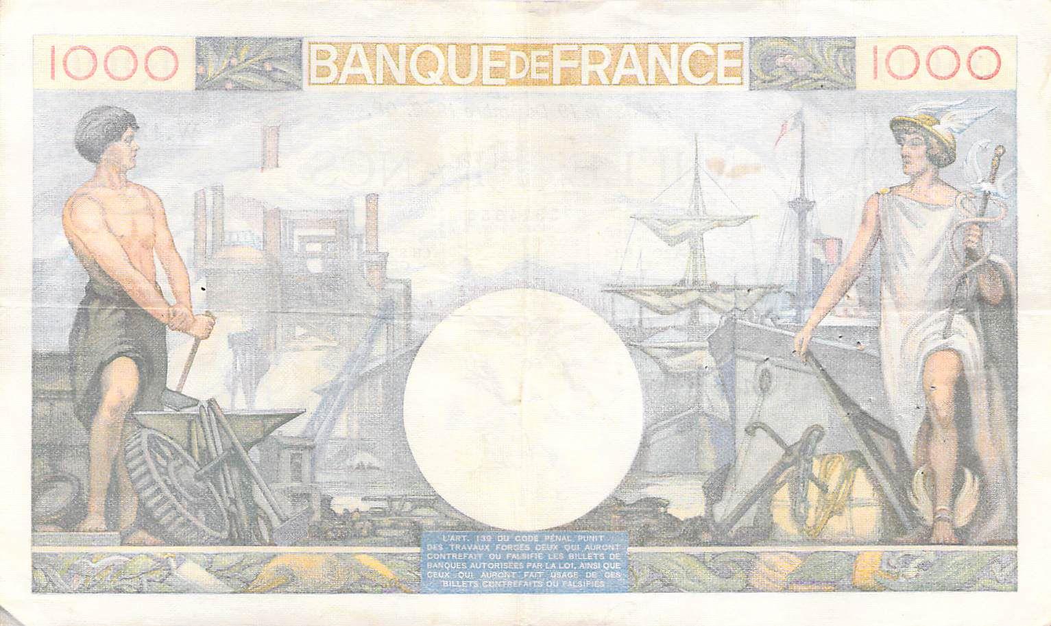 France 1000 Francs Commerce et Industrie - 19-12-1940 Série W.1335 - TTB