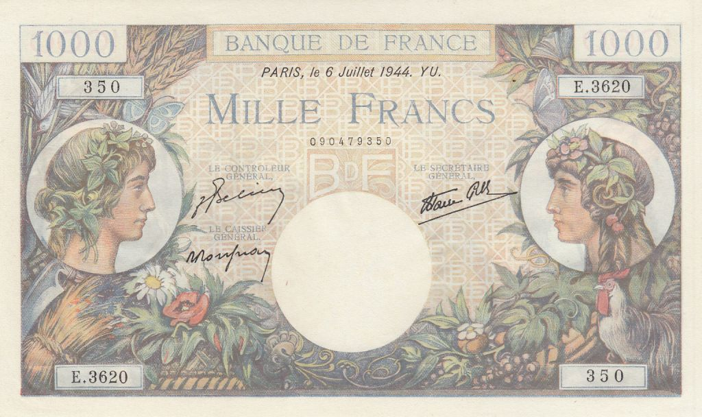 France 1000 Francs Commerce et Industrie - 1944 - Série E.3620