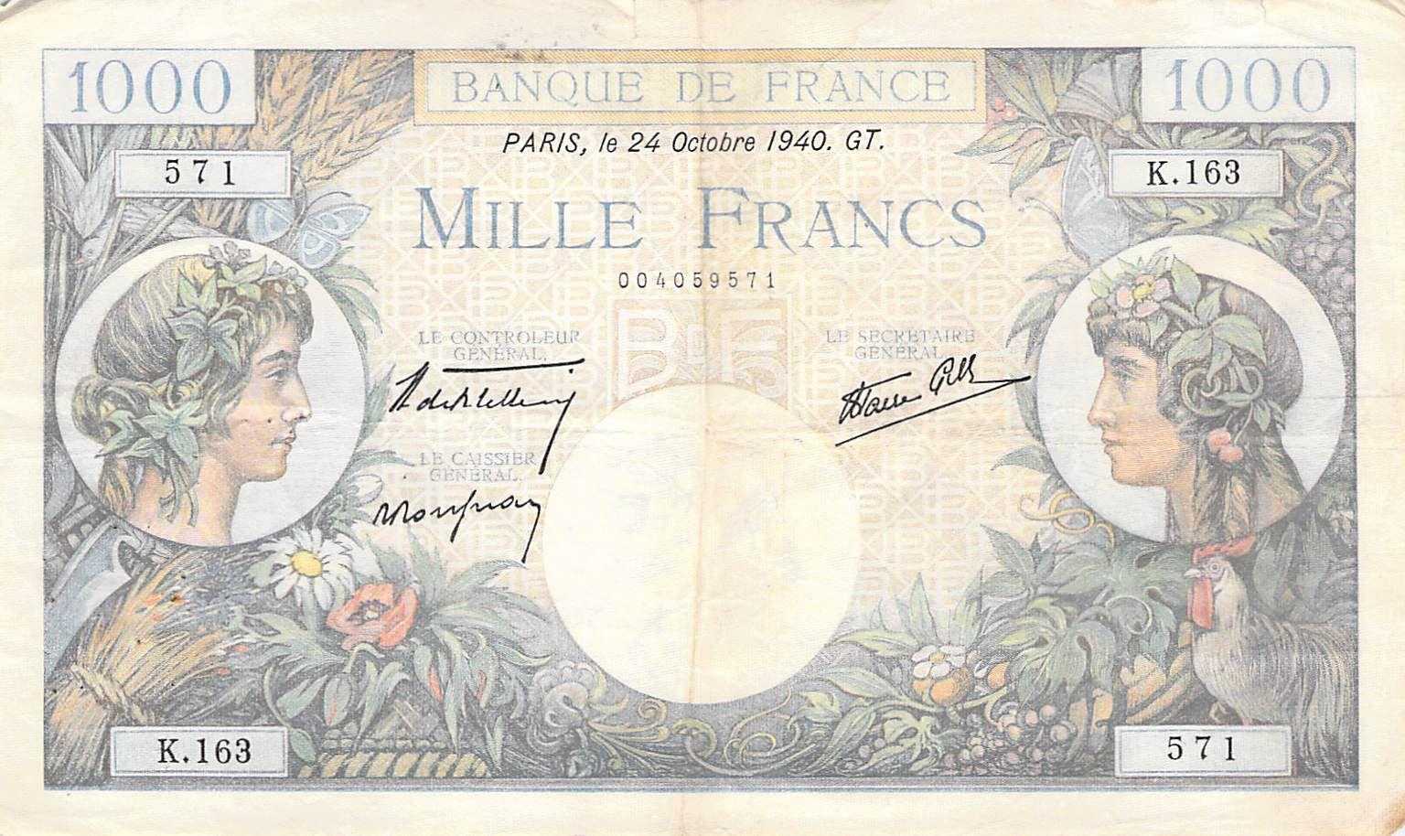 France 1000 Francs Commerce et Industrie - 24-10-1940 Série K.163 - PTTB