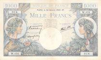 France 1000 Francs Commerce et Industrie - 24-10-1940 Série W.414 - TTB+