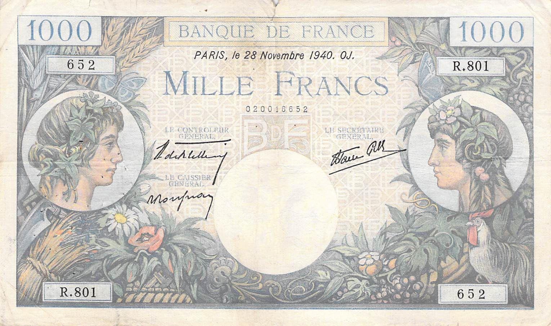 France 1000 Francs Commerce et Industrie - 28-11-1940 Série R.801 - TB+