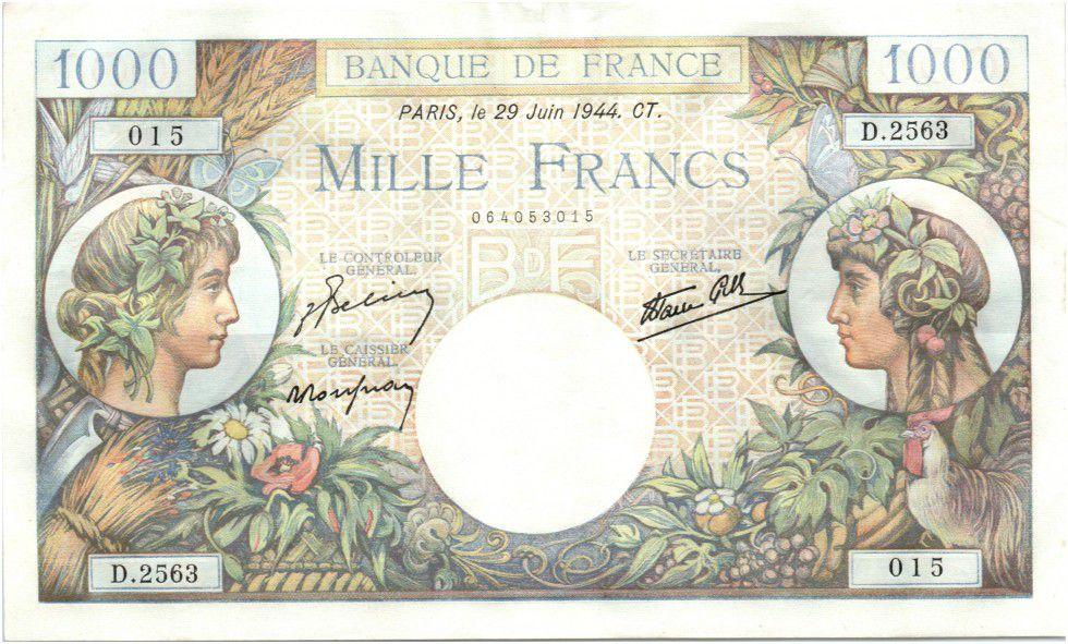 France 1000 Francs Commerce et Industrie - 29-06-1944 Série D.2563 / 015
