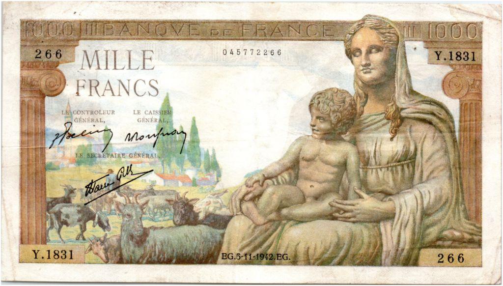 France 1000 Francs Déesse Déméter - 05-11-1942 Série Y.1831
