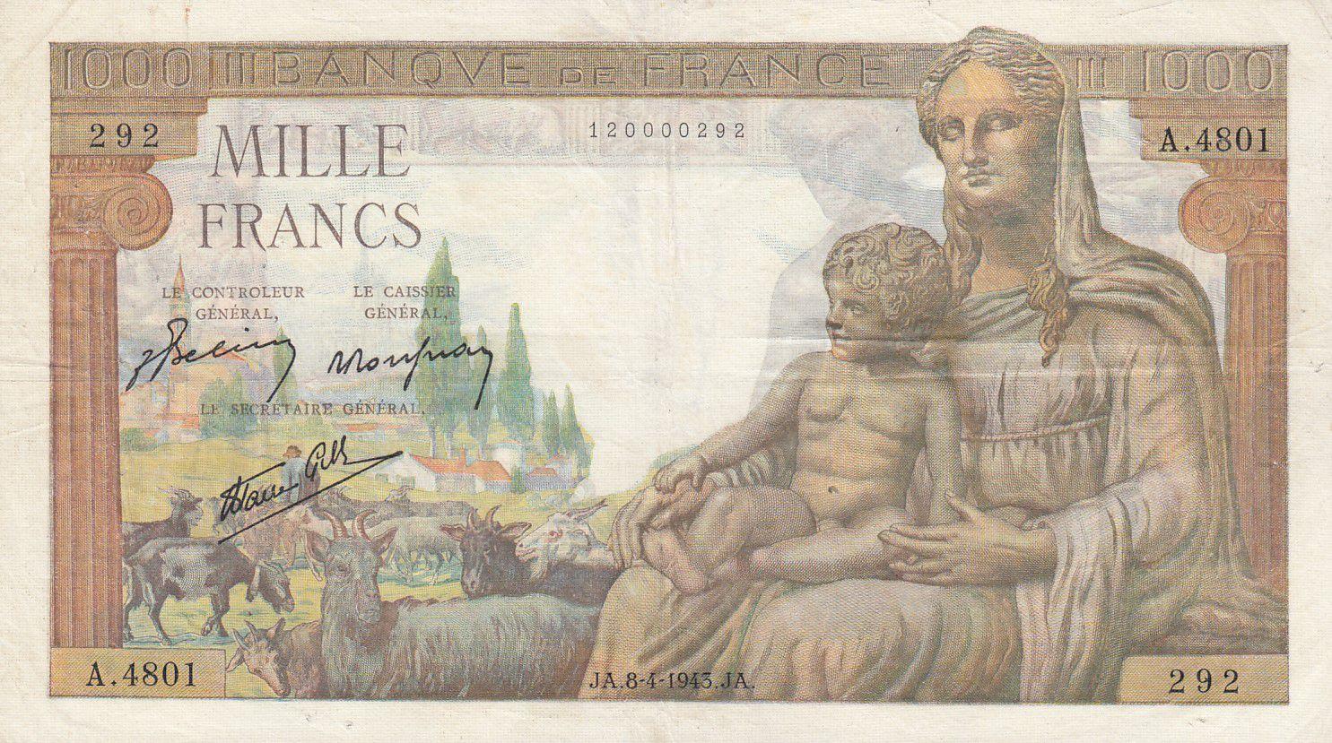 France 1000 Francs Déesse Déméter - 08-04-1943 Série A.4801 - TTB