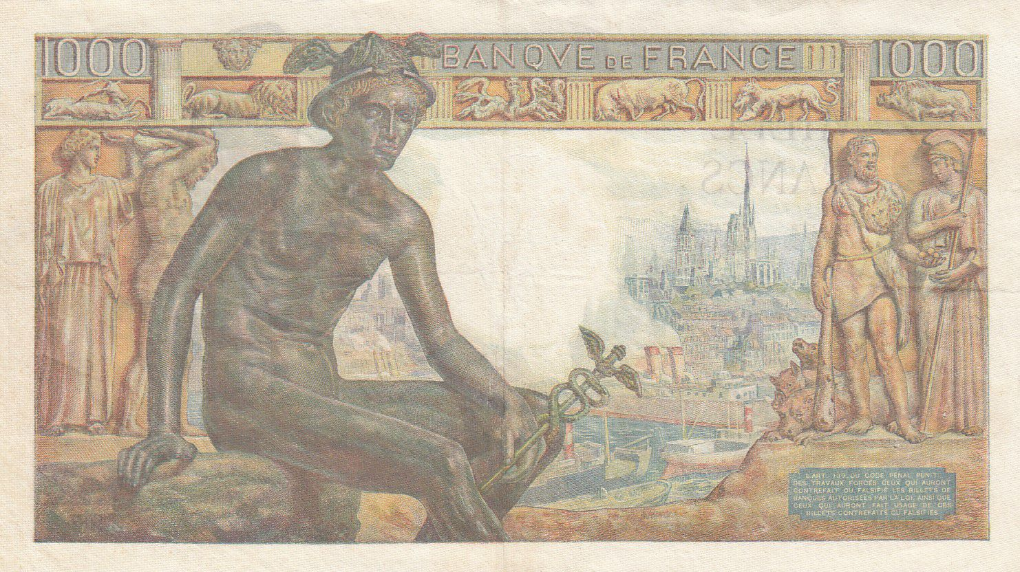 France 1000 Francs Déesse Déméter - 08-04-1943 Série Q.4650 - TTB