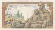 France 1000 Francs Déesse Déméter - 10-12-1942 Série A.2162 - TTB