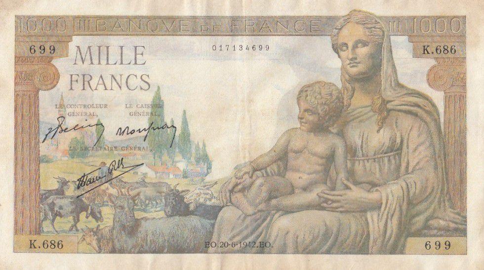 France 1000 Francs Déesse Déméter - 20-06-1942 Série K.686