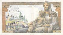 France 1000 Francs Déesse Déméter - 20-08-1942 - Série Z.1037 - PTTB