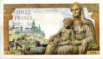 France 1000 Francs Demeter - 03-09-1942 Serial C.1234 - VF
