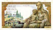 France 1000 Francs Demeter - 03-12-1942 Serial R.2042 - VF