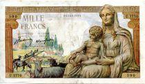 France 1000 Francs Demeter - 05-11-1942 Serial U.1770 - VF