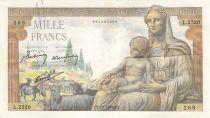 France 1000 Francs Demeter - 07-01-1943 - Serial L.2520 - F to VF