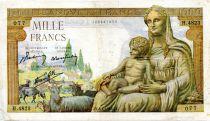 France 1000 Francs Demeter - 08-04-1943 Serial H.4823 - F+