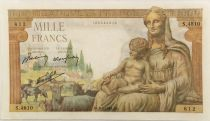 France 1000 Francs Demeter - 08-04-1943 Serial S.4810 - VF+