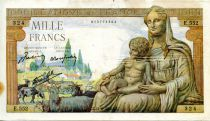 France 1000 Francs Demeter - 11-06-1942 Serial E.552 - F+