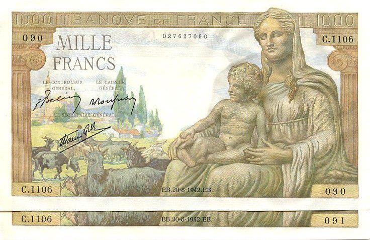 France 1000 Francs Demeter - 1942