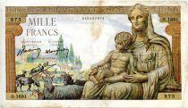 France 1000 Francs Demeter - 22-10-1942 Serial O.1691 - VF