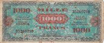 France 1000 Francs Impr. américaine (drapeau) - 1944 - Sans série - TB
