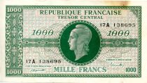 France 1000 Francs Marian - 1945 Letter A - Serial 17 A - VF