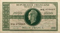 France 1000 Francs Marian - 1945 Letter A - Serial 30 A - VF