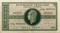 France 1000 Francs Marian - 1945 Letter A - Serial 51 A - VF+