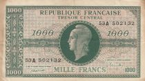 France 1000 Francs Marian - 1945 Letter A - Serial 53 A - Fine to VF