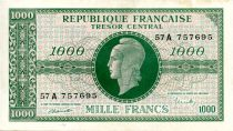 France 1000 Francs Marian - 1945 Letter A - Serial 57 A - XF