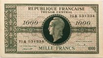 France 1000 Francs Marian - 1945 Letter A - Serial 75 A - VF+