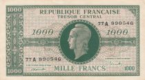 France 1000 Francs Marian - 1945 Letter A - Serial 77 A - VF