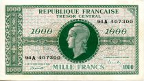 France 1000 Francs Marian - 1945 Letter A - Serial 94 A - VF+