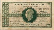 France 1000 Francs Marian - 1945 Letter D - Serial 27 D - VF
