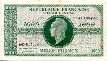 France 1000 Francs Marian - 1945 Letter D - Serial 49 D - VF+