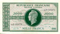 France 1000 Francs Marian - 1945 Letter D - Serial 53 D - VF+