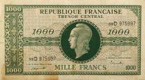 France 1000 Francs Marian - 1945 Letter D - Serial 88 D - F to VF