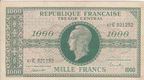 France 1000 Francs Marianne - 1945 Letter E- Serial 47 E -  VF