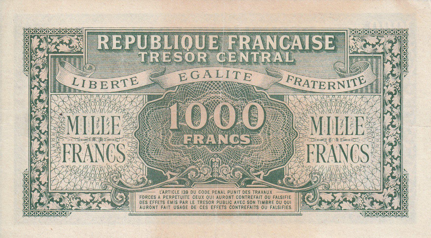 France 1000 Francs Marianne - 1945 Lettre A - Série 32 A - TTB+