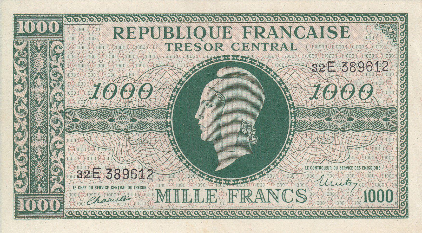 France 1000 Francs Marianne - 1945 Lettre E - Série 32 E - SUP+