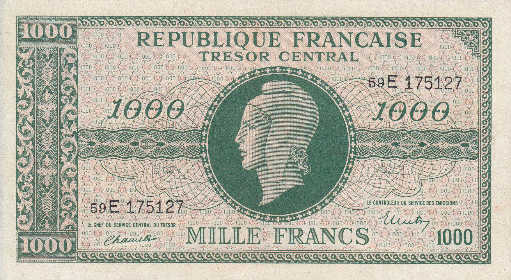 France 1000 Francs Marianne - 1945 Lettre E - Série 59 E - TTB+