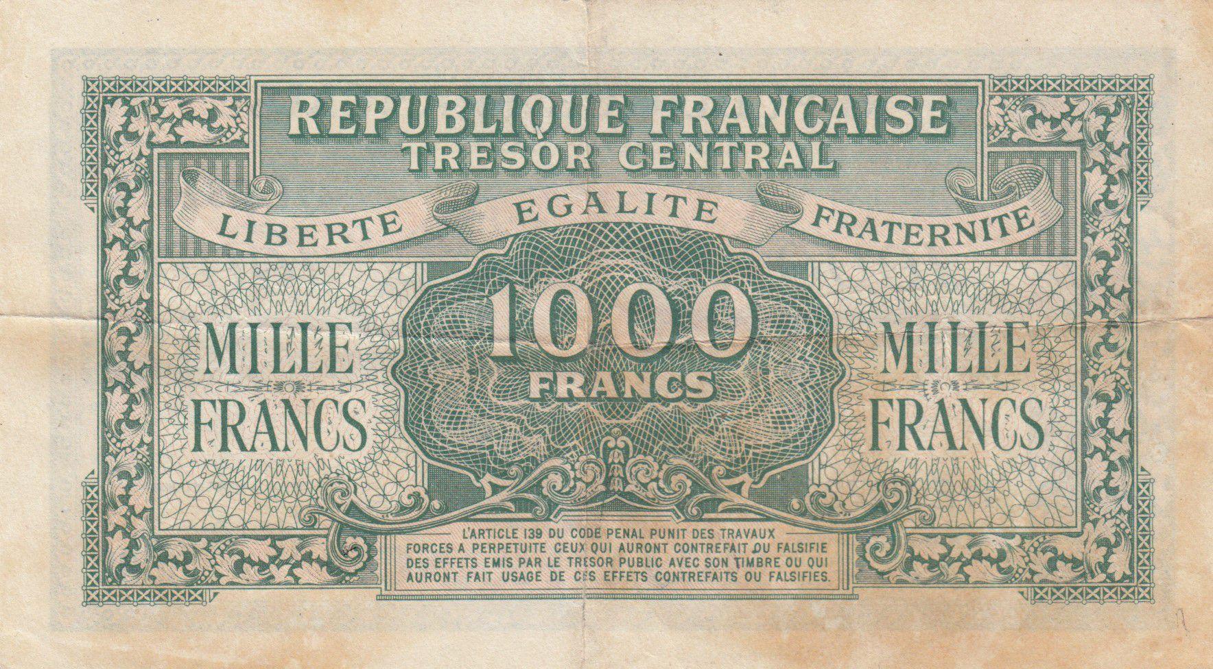 France 1000 Francs Marianne - Trésor Central 1945 - Série 47E - TTB