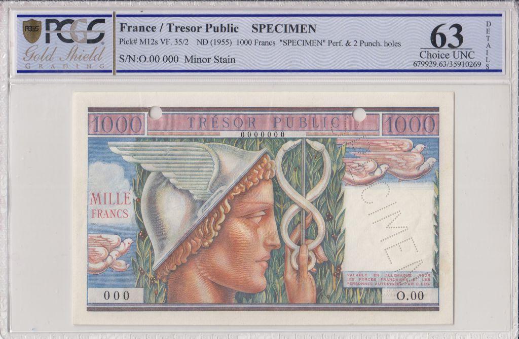 France 1000 Francs Mercure, Trésor Public - 1955 - Spécimen - PCGS 63