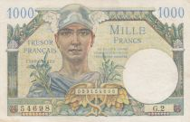 France 1000 Francs Mercury - French Treasury 1947 - Sérial G.2 - XF