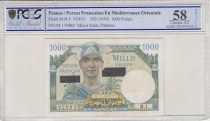 France 1000 Francs Mercury - Suez issue - 1956 Serial M.1 - AU 58