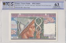 France 1000 Francs Mercury, French Treasory - 1955 - Specimen - PCGS 63