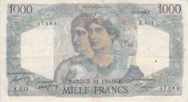 France 1000 Francs Minerva and Hercules - 02-03-1950 Serial K.633 - F to VF