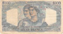 France 1000 Francs Minerva and Hercules - 02-12-1948 Serial W.511 - VG to F