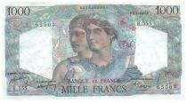 France 1000 Francs Minerva and Hercules - 07-04-1949 Serial R.555 - AU