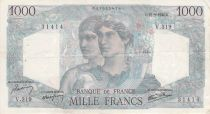 France 1000 Francs Minerva and Hercules - 12-09-1946 Serial V.319 - VF