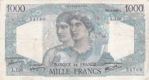 France 1000 Francs Minerva and Hercules - 23-08-1945 Serial L.120 - F to VF