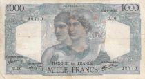 France 1000 Francs Minerva and Hercules - 26-04-1945 Serial U.10 - VG to F