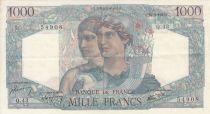 France 1000 Francs Minerve and Hercule - 14/06/1945 - Serial Q.43